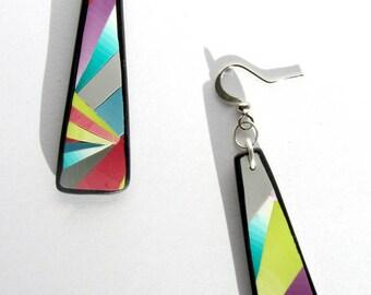 Polymer clay, fine triangle dangle earrings.