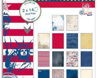 Pad of paper printed scrapbooking 15 x 20 - NYC - Toga destination