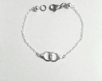 Bracelet 925 sterling silver. Handcuffs. Minimalist style.