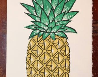 Pineapple linocut 12x9 Print Handprinted