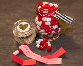 Perfect Valentine's Day Gift, Personalized Love Pills, Secret Message Inside with Glass Bottle, 100 pcs, Reasons I Love You