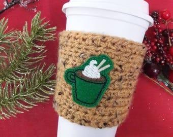 Hot chocolate coffee sleeve, cocoa coffee cozy, hot cocoa coffee cozy, winter accessories, coffee cozies, holiday coffee sleeve, coffee gift
