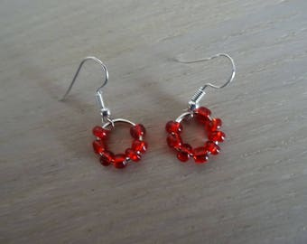 Earrings hoops with red beads