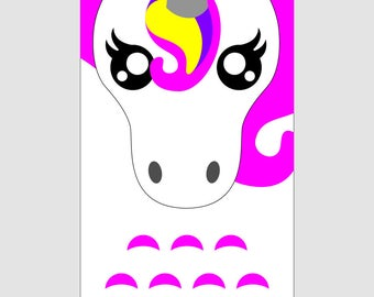 Cover phone cell Unicorn rainbow faux leather