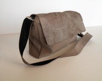 shoulder bag, Messenger bag, purse, Brown with glitter.