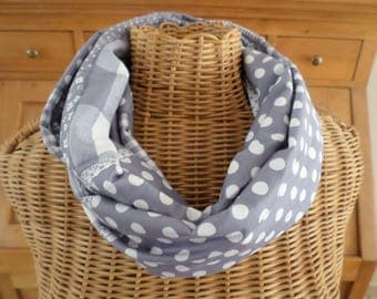snood gray and white cotton