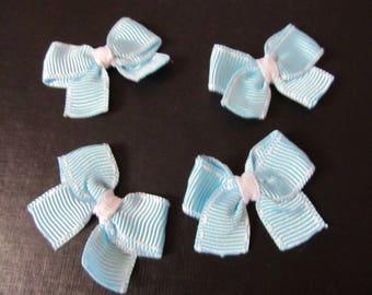 Set of 4 handmade light blue bows