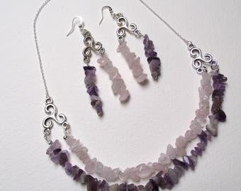 Set rose quartz and Amethyst.