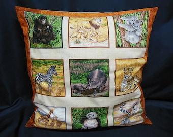 Large cushion / pillow, square, animals (C330 gold)