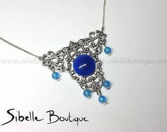Necklace initiee blue cabochon (Cg11-1)