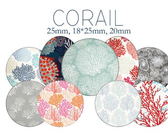 "Cabochons collage sheet / digital ""Coral, coral, sea, barrier"" round"