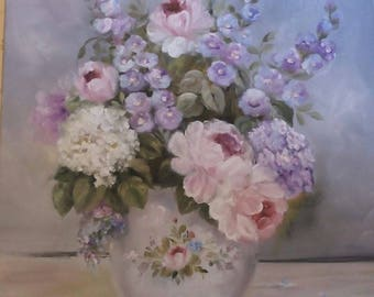 ROMANTIC SHABBY CHIC PAINTING OIL ON CANVAS