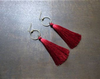 Bronze earrings Burgundy tassels with rings
