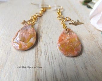 Drop Earrings with pearl pink powder and origami