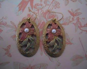 Floral Earrings Hand Painted Vintage Brass Ovals and Pearls