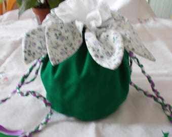 Green and flowered pouch bag purple