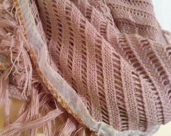 Large cowl made with cotton and acrylic dusky pink color