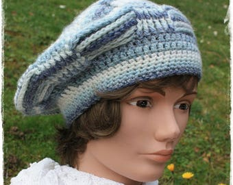 Shades of blue crochet women beret. french touch.