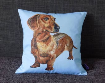 Dachshund on Blue Background Cushion Cover