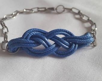 Blue sailor knot bracelet silver tone chain
