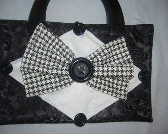 Clutch bag with white bow applique houndstooth! large buttons