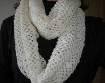 hand crocheted snood or scarf closed beige