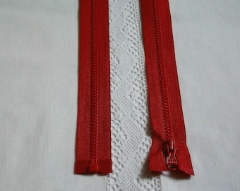 Molded separable 35 cm red zipper