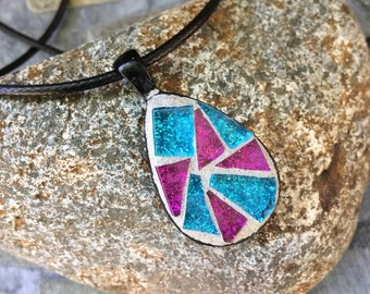 Mosaic Pendant/Mosaic Jewelry/Teardrop Shaped Pendant/Wearable Art/Gift for Her Under 25/Mosaic Gift
