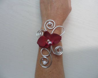 Bracelet - Burgundy and silver bridal with Orchid flowers
