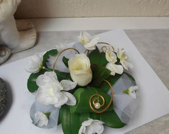 Table centerpiece, table decoration white ivory and gold