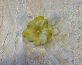 Lime Green Ribbon white flower wedding boutonniere