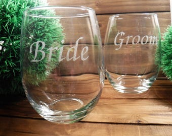 Handmade Custom Wine Glasses Bride Groom Wedding Personalized