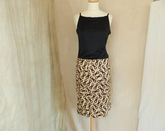 straight, wrap skirt, Brown and beige, retro, T38 and T40