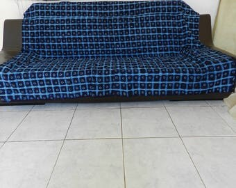 Bedspread and throw no. 10 Ing indigo African fabric in blue. 190 cm x 186 cm