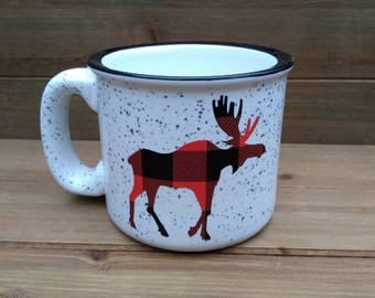 Buffalo Plaid Moose Campfire Mug - Deer Mug, Deer Decor, Winter Coffee Mug, Winter Mug, Coffee Lover Gift, Winter, Gift, Winter Decor
