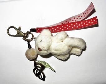 Teddy bear bag charm, Keychain unique