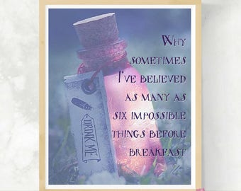 Six Impossible Things   Alice in Wonderland Print   Queen of Hearts Quote   DIY Wall Art   Drink Me Art Print   Lewis Carroll Quote