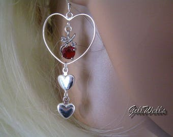 "Earrings """" flower decorum of Garnet in the 3 Silver hearts"""""