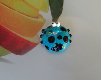Ladybug magnetic turquoise polymer clay