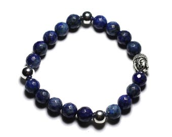 Gemstone - Lapis Lazuli faceted 8mm and Buddha bracelet