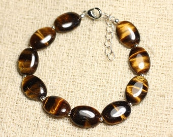 Bracelet 925 sterling silver and 14mm oval Tiger eye stone-