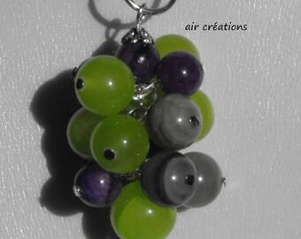 CL.0373 grape pendant green and purple agate beads