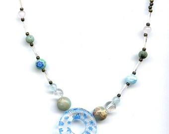 Crystal healing and clear glass donut necklace