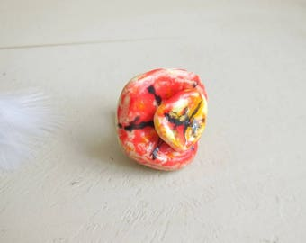 Fancy Red and yellow ceramic imitation 'Espagna' ring