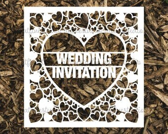 Wedding Invitation Invite Papercutting Template for Personal or Commercial Use Download Cut File JPEG PNG DIY Wedding Stationery Template