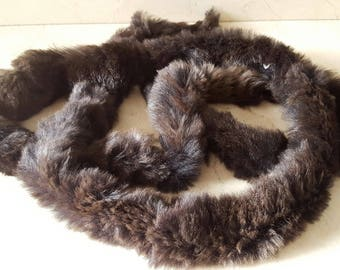 150 cm of round Brown rabbit fur trim