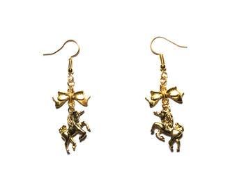 """""""Golden Unicorn"""" gold color earrings"""