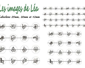 Music 1: print of digital images for cabochons 25mm, 20mm and 12mm