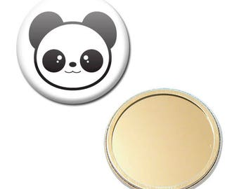 Mirror black Pocket Panda face Ø 56 mm button pin Badge