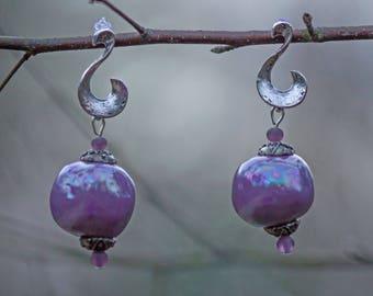 Iridescent, purple ceramic bead earrings purple glass beads